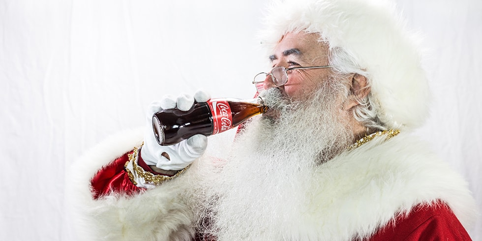 Santa drinking a coke